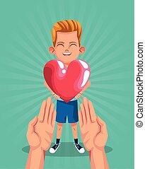spotprent, ontwerp, kleurrijke, hart, handen, jongen