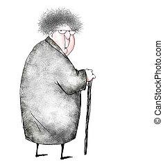 spotprent, oude dame, verwonderd