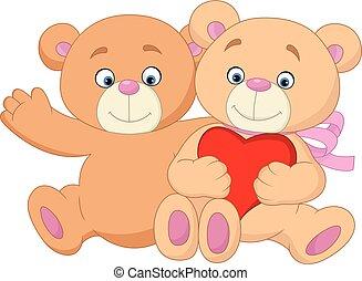 spotprent, paar, romantische, beer, teddy