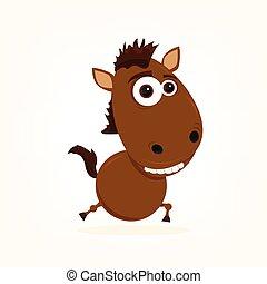 spotprent, paarde
