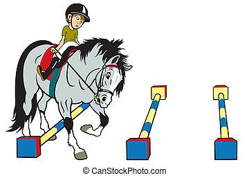 spotprent, paardrijden, geitje