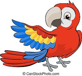 spotprent, papegaai, mascotte
