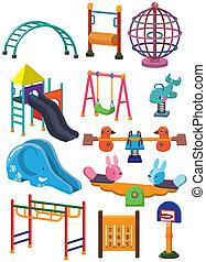 spotprent, park, speelplaats, pictogram