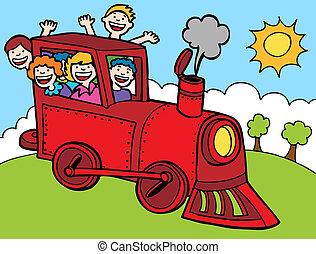 spotprent, park, trein, rijden, kleur