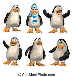 spotprent, penguin