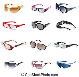 spotprent, pictogram, bril