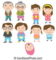 spotprent, pictogram, gezin