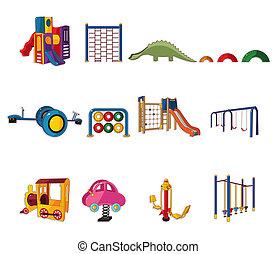 spotprent, pictogram, park, speelplaats