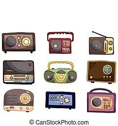 spotprent, pictogram, radio