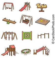 spotprent, pictogram, speelplaats