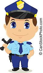 spotprent, politieagent