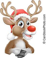 spotprent, rendier, met, kerstmis, kerstmuts