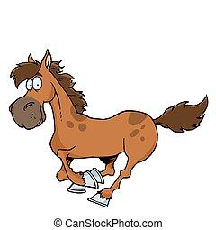 spotprent, rennende , paarde