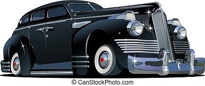 spotprent, retro, auto