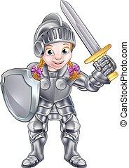 spotprent, ridder, meisje