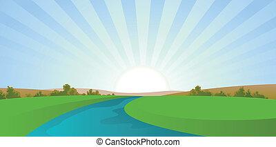 spotprent, rivier landschap