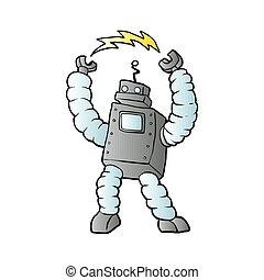 spotprent, robot, illustratie, vector