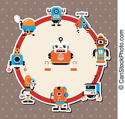 spotprent, robot, kaart