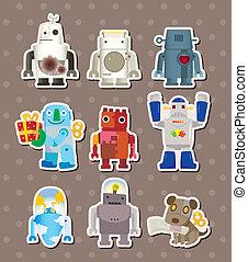 spotprent, robot, sticers