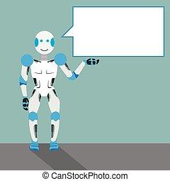 spotprent, robot, tekstballonetje