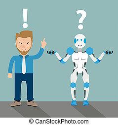 spotprent, robot, zakenman, communicatie, probleem