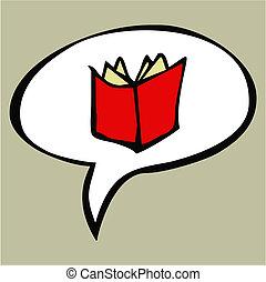 spotprent, rood, opengeslagen boek, in, tekst, balloon