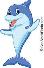 spotprent, schattig, dolfijn, zwaaiende