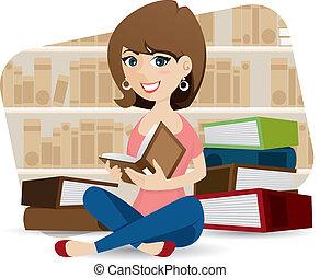 spotprent, schattig, girl lezen, boek, in, bibliotheek