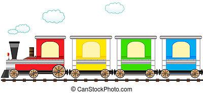 spotprent, schattig, kleurrijke, trein, in, bevestigingslijst