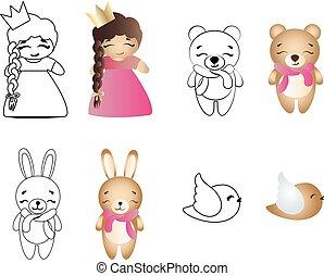 spotprent, schattig, speelbal, baby meisje, beer, konijntje, en, vogel