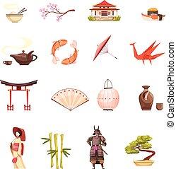 spotprent, set, japan, iconen, retro