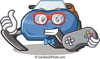 spotprent, snowmobile, vrijstaand, gamer