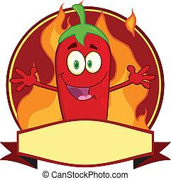 spotprent, spaanse peper, rood, etiket
