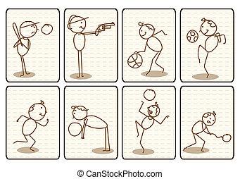 spotprent, sporten, doodle, geschetste