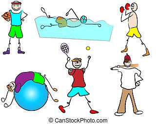 spotprent, sportende, en, ontspanning