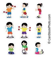 spotprent, sportende, mensen, pictogram, set