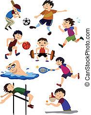 spotprent, sportende, pictogram