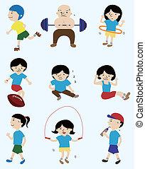 spotprent, sportende, speler, mensen, pictogram