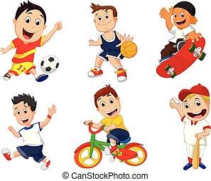 spotprent, sportende, speler, pictogram, set