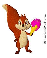 spotprent, squirrel, met, icecream