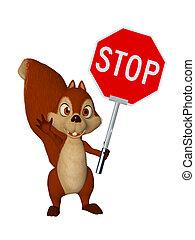 spotprent, squirrel, met, stopteken