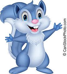 spotprent, squirrel, schattig, zwaaiende