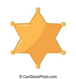 spotprent, ster, sheriff, goud