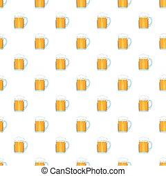 spotprent, stijl, bier, model, mok