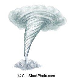 spotprent, stijl, hand, getrokken, vector, tornado