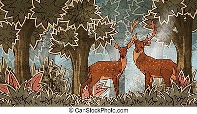 spotprent, stijl, twee, deers, bos