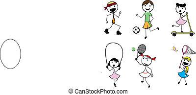 spotprent, stok, kinderen, actief, sporten