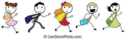 spotprent, stok, kindereni gaand naar de school