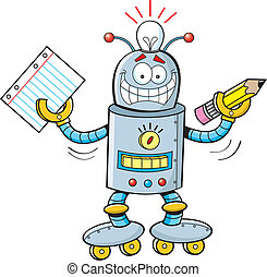 spotprent, student, robot