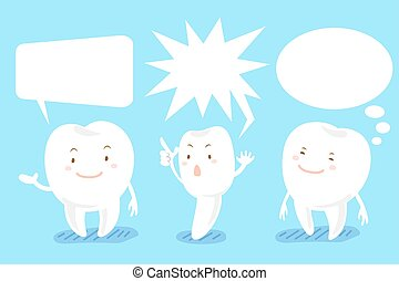 spotprent, tand, met, tekstballonetje